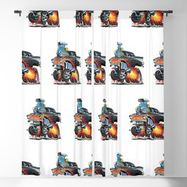 Classic hot rod 57 gasser drag racing muscle car cartoon Blackout Curtain
