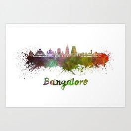 Bangalore skyline in watercolor Art Print