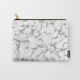 White abstract marble elegant pattern Carry-All Pouch