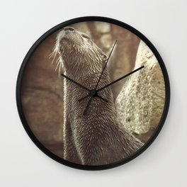 River Otter with Head Stretched Upward Wall Clock