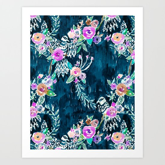 BIRD OF HEY - INDIGO Art Print