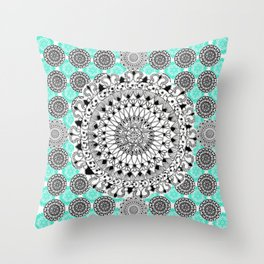 Black and Teal Patterned Mandalas Throw Pillow