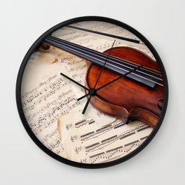 Violin music and notation Wall Clock