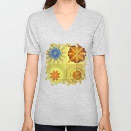 Didactic Rainbow Flower  ID:16165-120332-39891 Unisex V-Neck