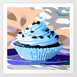 Chocolate Cupcake with Blue Buttercream Art Print