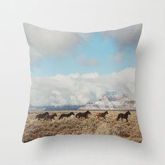 Running Reservation Horses Throw Pillow