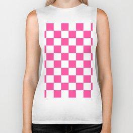 Cheerful Pink Checkerboard Biker Tank