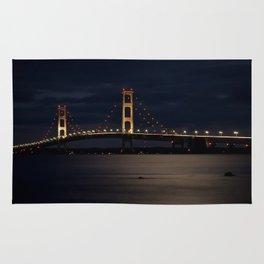Mackinac Bridge at night Rug