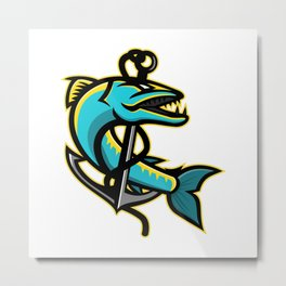 Barracuda and Anchor Mascot Metal Print