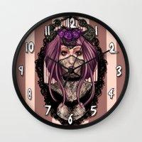vampire Wall Clocks featuring Vampire by Valentina Testa