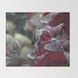 Hummingbird Hiding in Red Bud Tree Throw Blanket