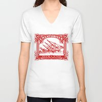 oakland V-neck T-shirts featuring Oakland Classic Red by Kris alan apparel