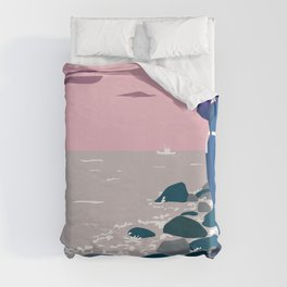 Woman by the sea Duvet Cover