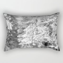 Snow Lift // Ski Chair Lift Colorado Mountains Black and White Snowboarding Vibes Photography Art Print Rectangular Pillow