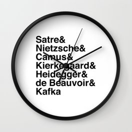 Helvetica Existentialists Wall Clock