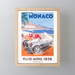 1936 Monaco Grand Prix Race Poster  Framed Mini Art Print