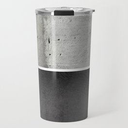 Raw Concrete and Black Leather Travel Mug