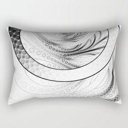 White on Black Circular Fractal of a Jinbaori Samurai Symbol Rectangular Pillow