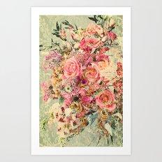 Classy Rococo floral woodpanel Art Print