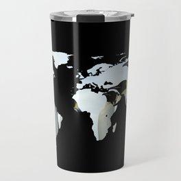 World Map Silhouette - Penguins Travel Mug