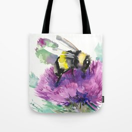 Bumblebee and Thistle Flower, honey bee floral Tote Bag