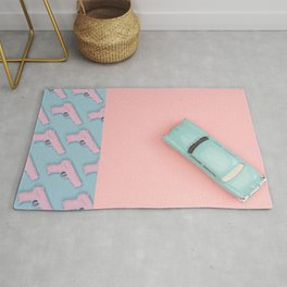 Pastel Pink and Blue/Pastel Vintage Rotary Dial Telephone/Pastel Vintage Car/Sparkly Unicorn/Pastel Pistol Rug