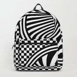 Black & White Twist & Check Modern Optical Illusion Design Backpack