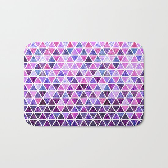 Berry Purples - Triangle Patchwork Pattern Bath Mat