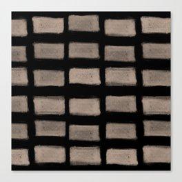 Brush Strokes Horizontal Lines Nude on Black Canvas Print