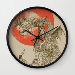 Junkyard Dragon (monochrome version) Wall Clock