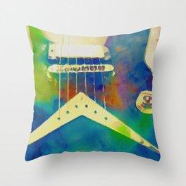 Rockin Blues Guitar by Tina A Stoffel Throw Pillow