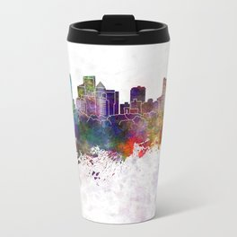 Fort Lauderdale FL skyline in watercolor background Metal Travel Mug