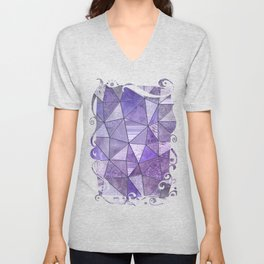 Purple Lilac Glamour Shiny Stained Glass Unisex V-Neck