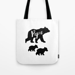 Papa Bear T Shirt with Two Cubs Tote Bag