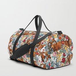 Capra Cylindricornis and Floral Pattern Duffle Bag