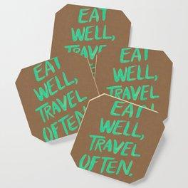 Eat Well, Travel Often on Mint Coaster
