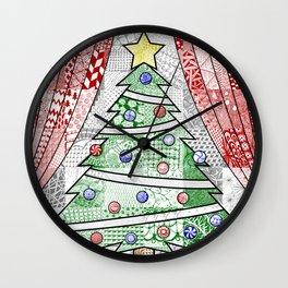 Coloured Christmas Tree Wall Clock