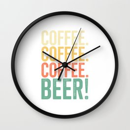 Coffee Beer Coffee Themed Gift For Beer Drinkers Retro T-Shirt Wall Clock