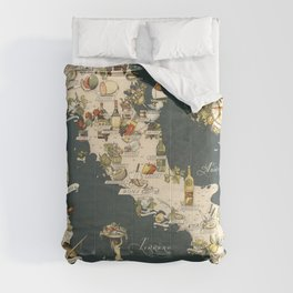 Gastronomic Map of Italy 1949 Comforters