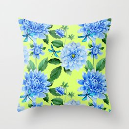 Modern blue lime punch watercolor dahlia floral pattern Throw Pillow