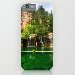 Picture USA Hanging Lake Cliff Nature Waterfalls Trees Crag Rock iPhone Case