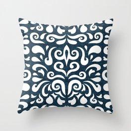 cadence damask - dark blue Throw Pillow