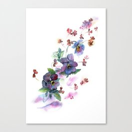 Watercolor hand painted pansies in gentle tone. Canvas Print
