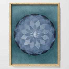 Watercolor Sacred Geometry Blue Flower Mandala Serving Tray