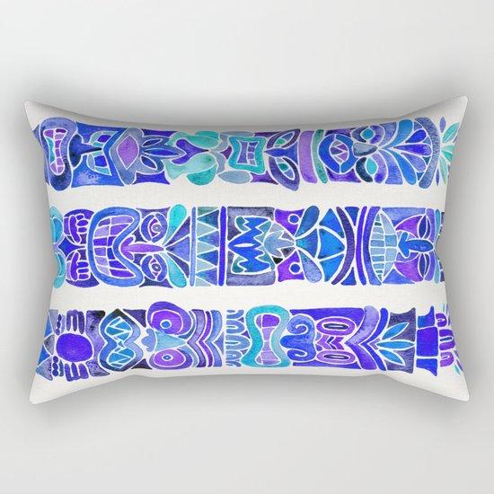 Tiki Totems – Indigo Palette Rectangular Pillow