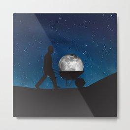 Moon In Wheelbarrow Metal Print