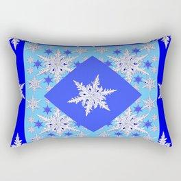 DECORATIVE BABY BLUE SNOW CRYSTALS BLUE WINTER ART Rectangular Pillow