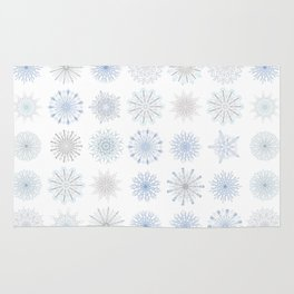 Light Snowfall, snowflakes in light blues and gray Rug