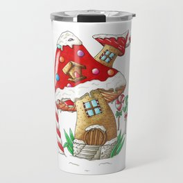 Mushroom gingerbread house Travel Mug