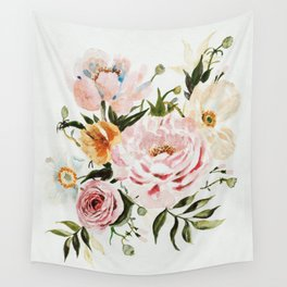 Loose Peonies & Poppies Floral Bouquet Wall Tapestry